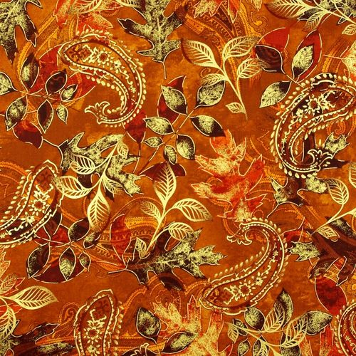 Harvest Paisley Leaf GoldBrown