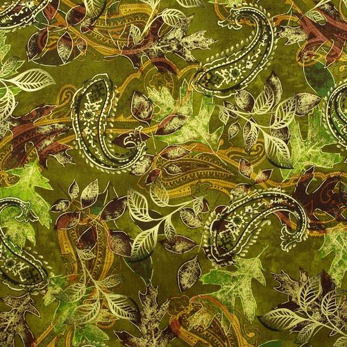 Harvest Paisley Leaf Green