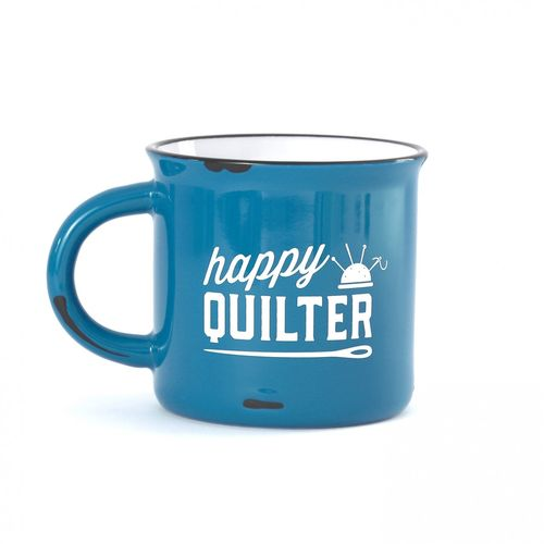 Happy Quilter Camp Mug Blue