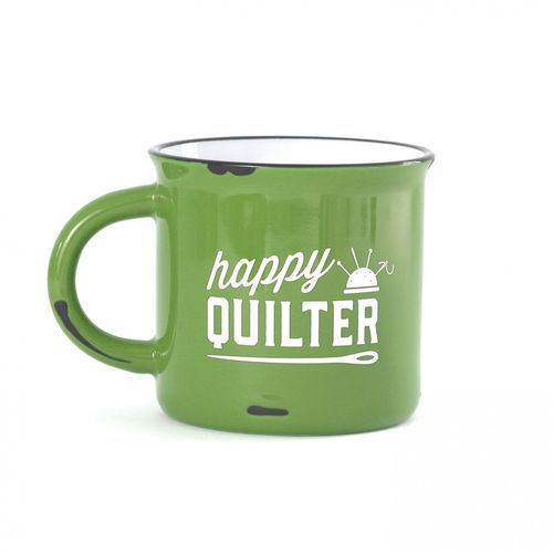 Happy Quilter Camp Mug Lime