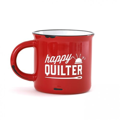 Happy Quilter Camp Mug Red