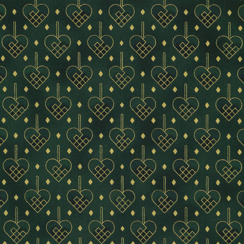 Christmas Wonders Hearts Green/Gold