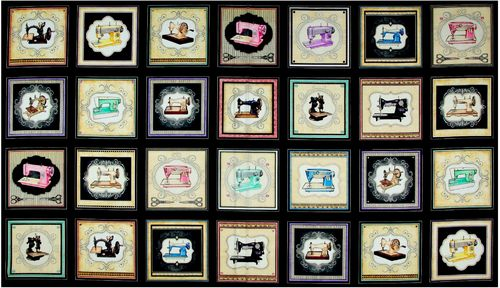 Small Sewing Machine Picture Patches Black