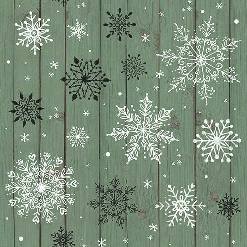 Snowflakes on Wood Grain Teal