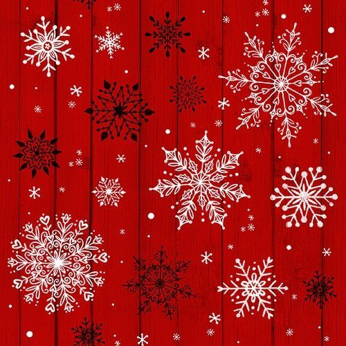 Snowflakes on Wood Grain Red